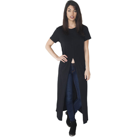 Ladies Long Line Open Front Slit T-Shirt