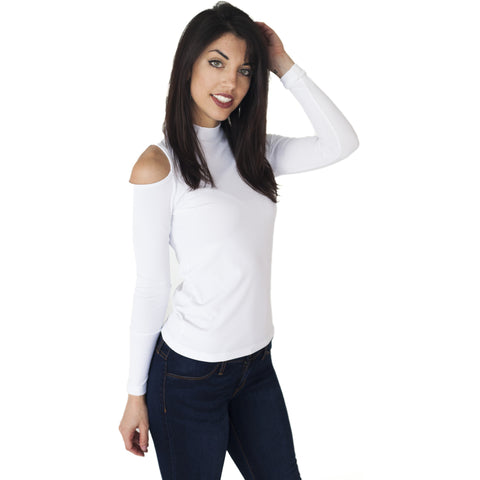 Cindy-1923 - L/S Ladies Cold Shoulder T-Shirt
