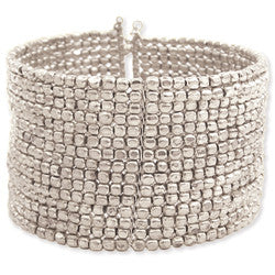 15 Line Silver Metal Seed Bead Cuff Bracelet - Anonymous L.A.