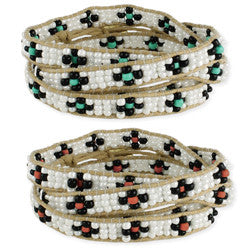 White & Color Beaded Wrap Bracelet - Anonymous L.A.