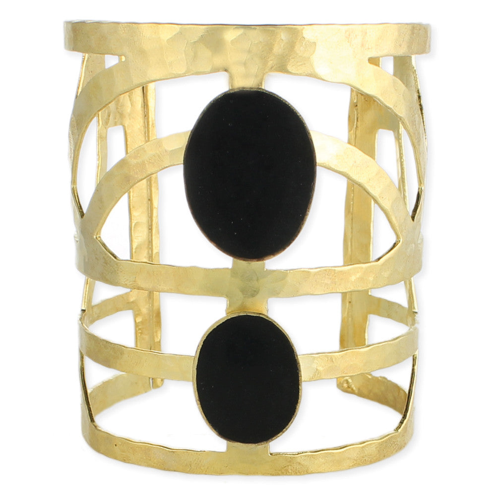 Gold Geometric Black Oval Cuff Bracelet - Anonymous L.A.