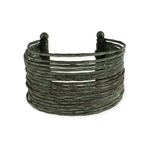 Patina Hammered Multi Line Cuff - Anonymous L.A.