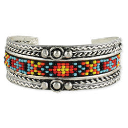 Silver & Multi Bead Cuff Bracelet - Anonymous L.A.
