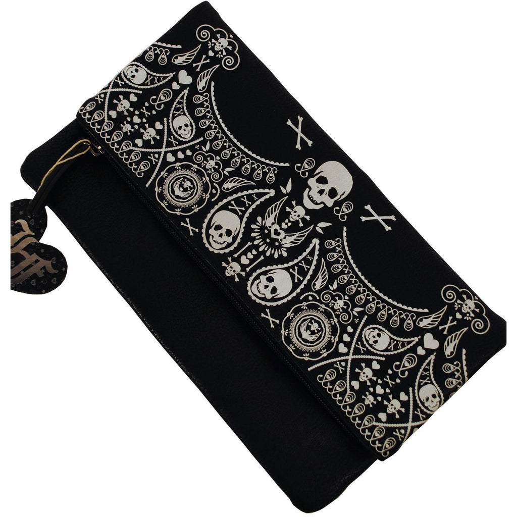 Bandana Skull Fold-Over Clutch - Anonymous L.A. - 1