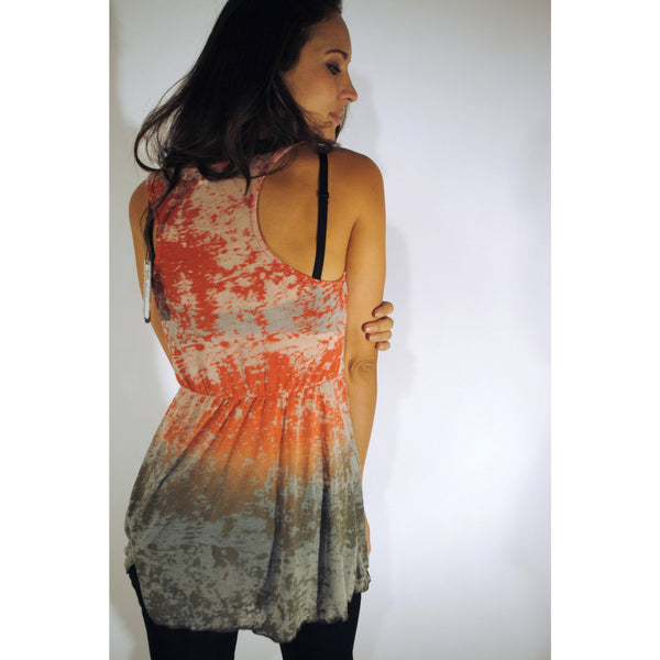 Cinched Fade Away Orange Tank Top - Anonymous L.A. - 2