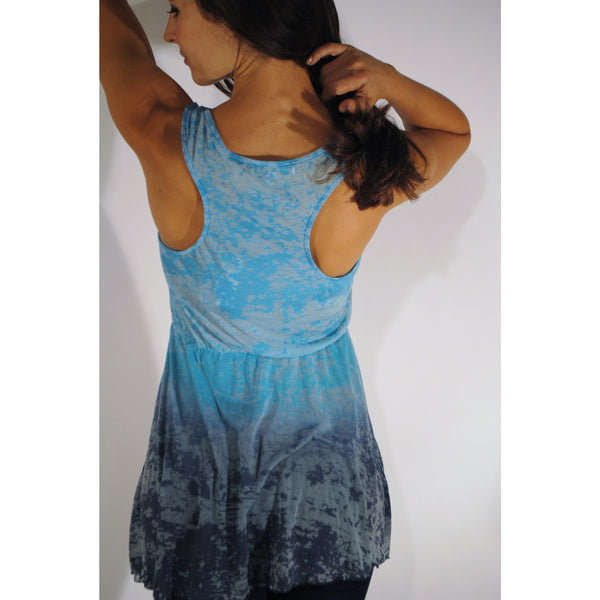 Cinched Fade Away Blue Tank Top - Anonymous L.A. - 3