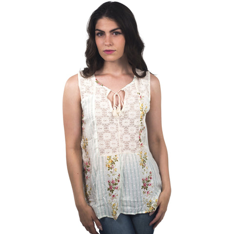 Dobby Lace Yoke Tank Top - Anonymous L.A. - 1