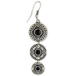 Geometric Etched Black Crystal Earring - Anonymous L.A.
