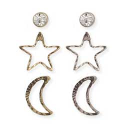 Set of 3 Crystal Celestial Post Earrings