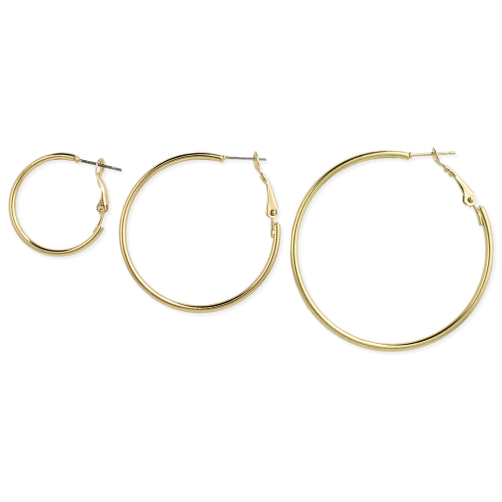 Set of 3 Gold Graduating Hoop Earrings