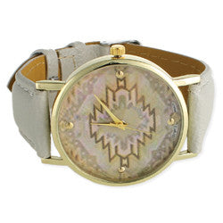 Grey Aztec Print Watch - Anonymous L.A.