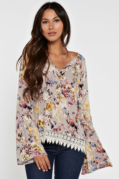 Floral Bell Sleeve Top