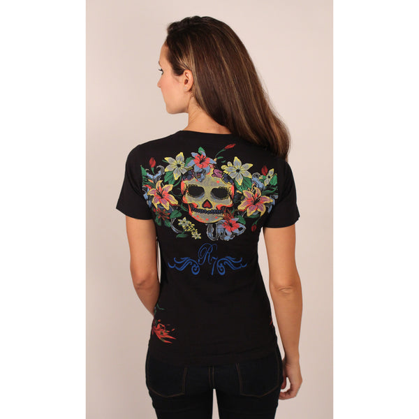 Raw 7 Black Floral V-Neck - Anonymous L.A. - 3