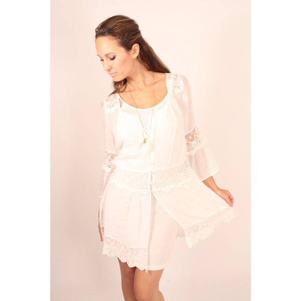 Monoreno Mint Peasant Lace Dress - Anonymous L.A. - 4
