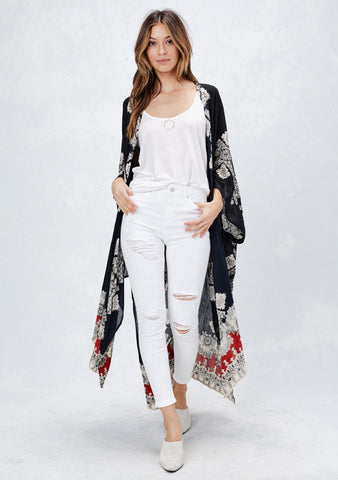 BORDER PRINTED kimono in Black/Red
