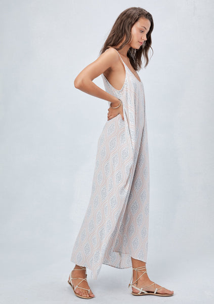 Printed Maxi Dress in Blue Combo