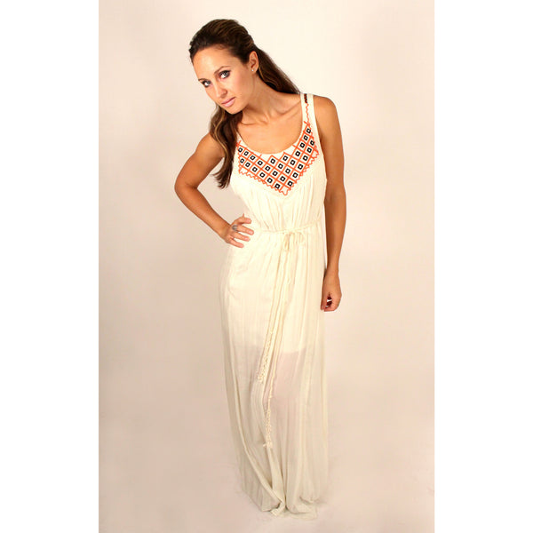 Lace Trim & Embroidered Maxi Dress - Anonymous L.A. - 1
