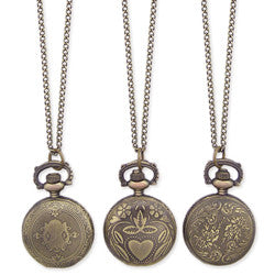 Antiqued Gold Metal Pocket Watch Long Necklace - Anonymous L.A.