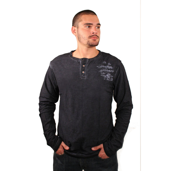 PX Clothing Blue Slub Henley - Anonymous L.A. - 1