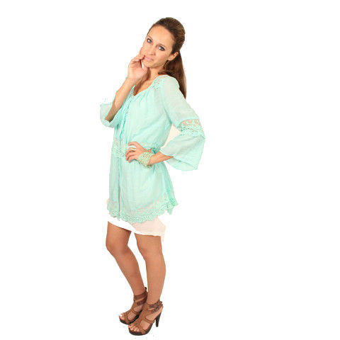 Monoreno Mint Peasant Lace Dress - Anonymous L.A. - 2