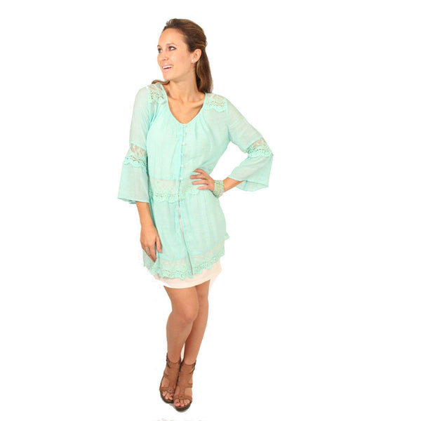 Monoreno Mint Peasant Lace Dress - Anonymous L.A. - 1