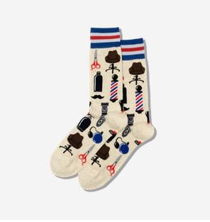 Men's Barber Shop Crew Socks