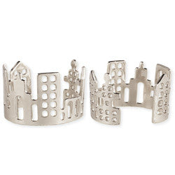 Silver Cutout New York Skyline Adjustable Ring