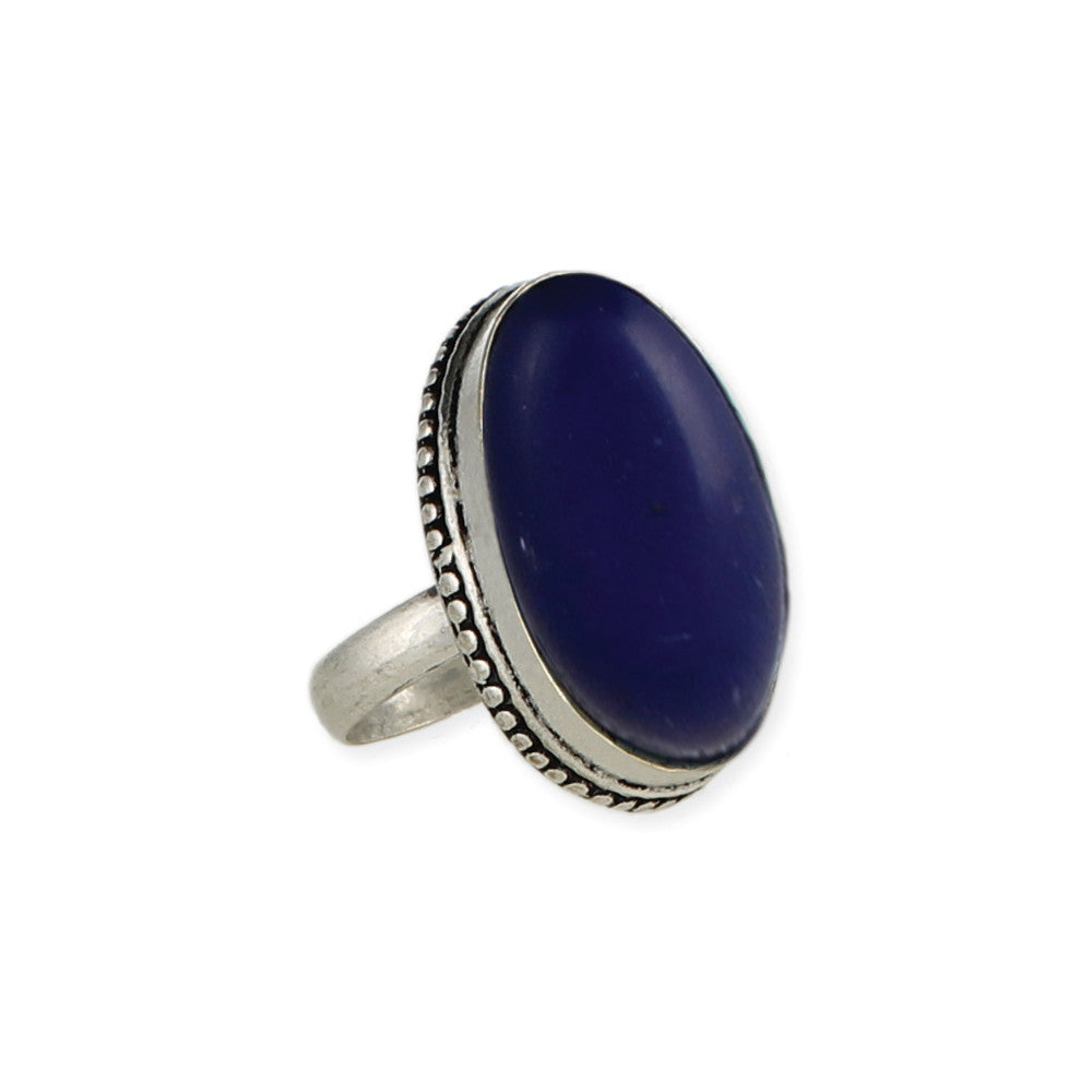 Silver & Oval Faux Lapis Ring - Anonymous L.A.