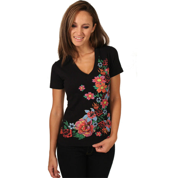 Raw 7 Black Floral V-Neck - Anonymous L.A. - 1