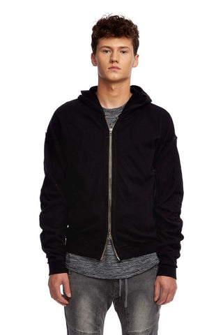Terry Bomber Hoodie Jacket (Tan or Black)