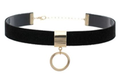 Choker Black Suede Leather w/ring