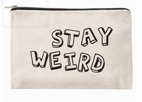 Stay Weird Cream Canvas Zippered Makeup Bag