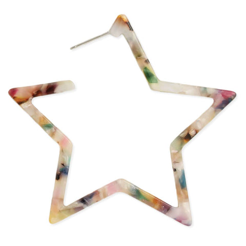 Shining Star Marbled Resin Hoop Earring