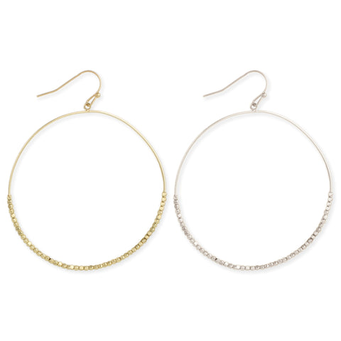 Gold & Silver Dewdrops Circle Dangle Earrings