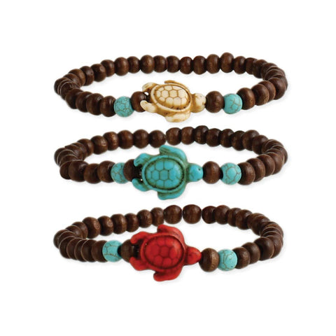 Stone Turtle Wood Stretch Bracelet