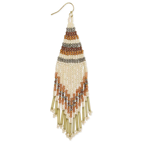 Neutral Tone Fringe Woven Bead Earrings