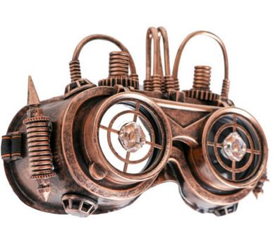 Steampunk Gold LED Flip Goggles with Wires