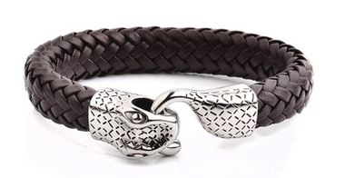 Crucible Men's Stainless Steel Woven Leather Snake Bracelet