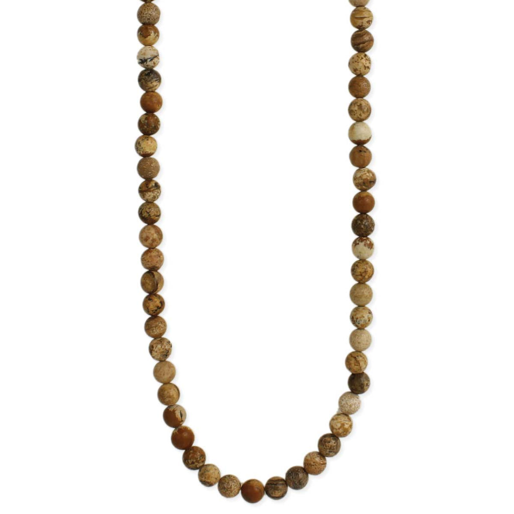 Brown Picture Jasper Bead Men's Necklace