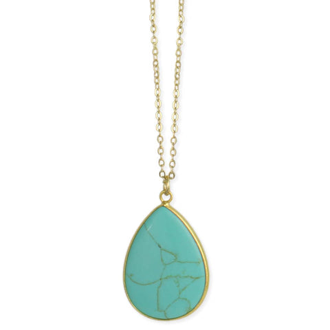 Tantalizing Turquoise Teardrop Pendant Gold Necklace