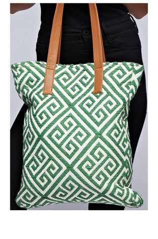 Canvas Tote w/vegan leather straps (Green/Natural)
