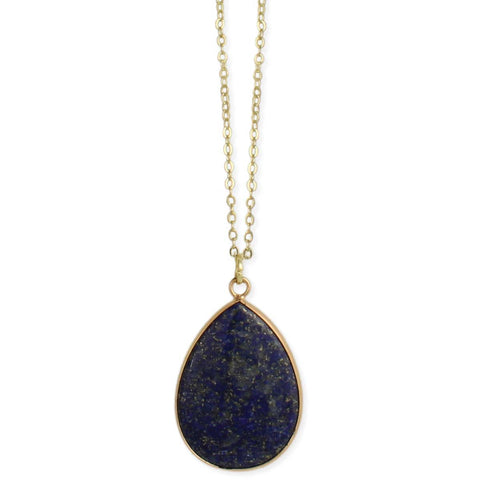 Lovely Lapis Teardrop Pendant Gold Necklace