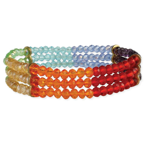 Rainbow Around Your Wrist Beaded Stretch Bracelet
