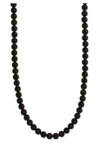Black Agate Bead Men's Necklace