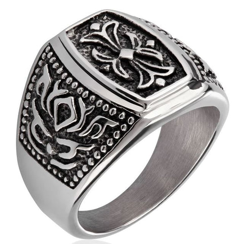Crucible Stainless Steel Antiqued Finish Floral Ring