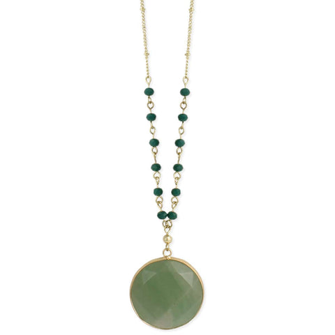 The Grass is Greener Gold & Aventurine Stone Necklace