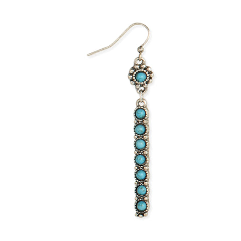 Silver Turquoise Stone Southwest Bar Dangle Earrings