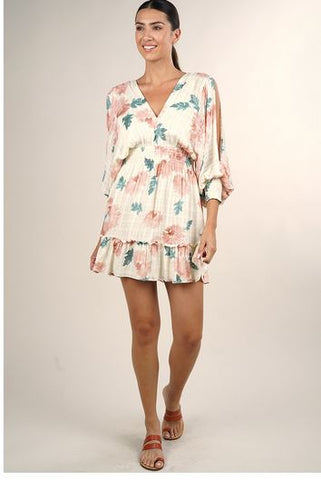 Floral Printed Split Sleeve Mini Dress