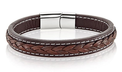 Crucible Men's High Polish Stainless Steel Double Layer Genuine Leather Bracelet