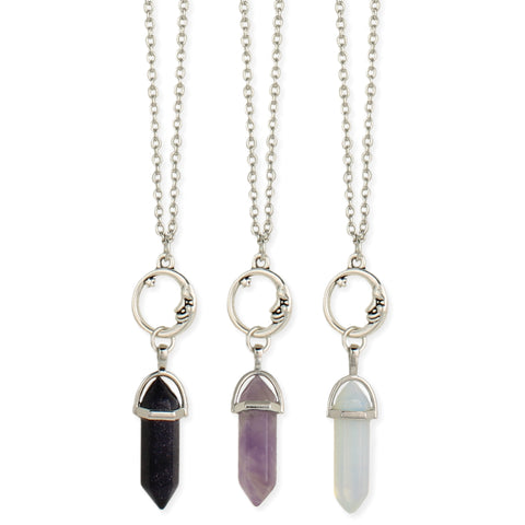 Silver Bullet Moon & Crystal Necklace